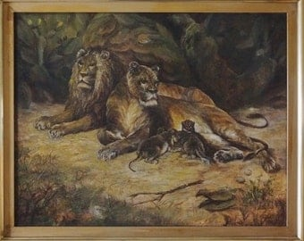 Lions and Cubs Late 19 Century Oil Panting