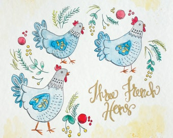 Three French Hens Digital Download