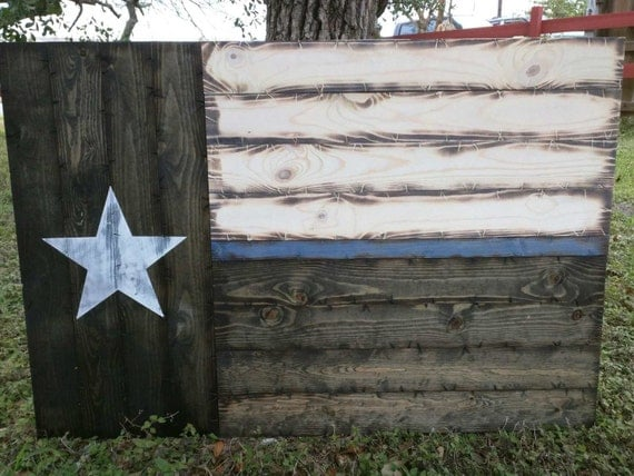Large Thin Blue/Red Line Texas Flag