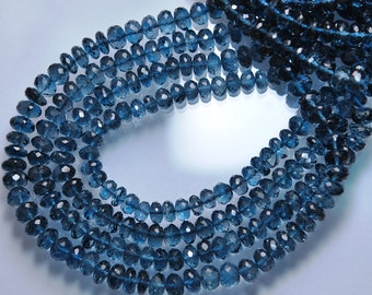 9 Inches Strand, AAA Deep Natural London Blue Topaz Faceted Rondelles, Size 6mm