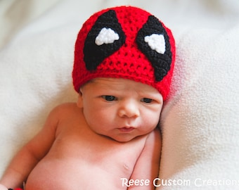 Crochet Deadpool Hat- Can be made with earflaps and tassels! 3 Week Lead Time