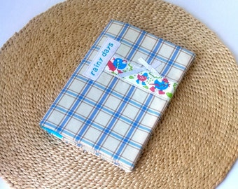 Cute Duck Notebook Fabric Cover A6 Notepad To Do List, Memory Book Travel Accessory Mini Journal, Rainy Day Writing Gift - blue check