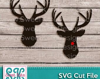 Deer Head SVG JPG PNG {Heat Transfer Vinyl Cut} - Instant Download - Reindeer svg Rudolph svg Cricut svg Silhouette svg Sweet Kate Designs