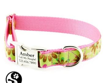 Pink Flower Power Personalized Dog Collar, Laser Engraved Name Plate Dog Collars, Large Dog, Small Dog, Girl Dog