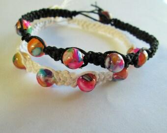 Hemp Beaded Bracelet - Handmade Black or White Hemp Macrame Bracelet with Multicolor Mother of Pearl Beads - Boho - Hippie Jewelry