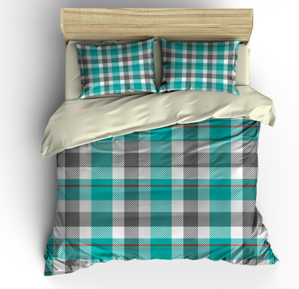 Country Plaid Bedding Teal Gray Duvet Cover Set Twin Full