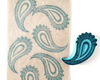 Paisley Rubber stamp, retro decor, hand carved rubber, hippie style
