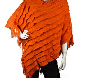 Orange Ruffle Trim Knit Poncho, Must Have Winter Accessory, Gift for Her