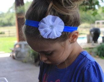 cobalt and white headband, baby headband