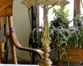 """Brass Religious CROSS or CRUCIFIX-Stand Alone for Home Altar-Vintage 1930's-13.5"""" tall 5.75"""" wide"""