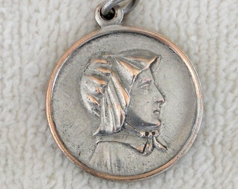 Antique St Elizabeth Seton Medal - Religious Catholic Pendant-Vintage 1920-30