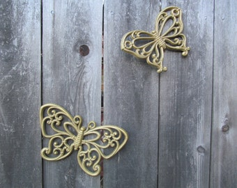 Set of 2 1960's HOMCO Butterfly Wall Plaques