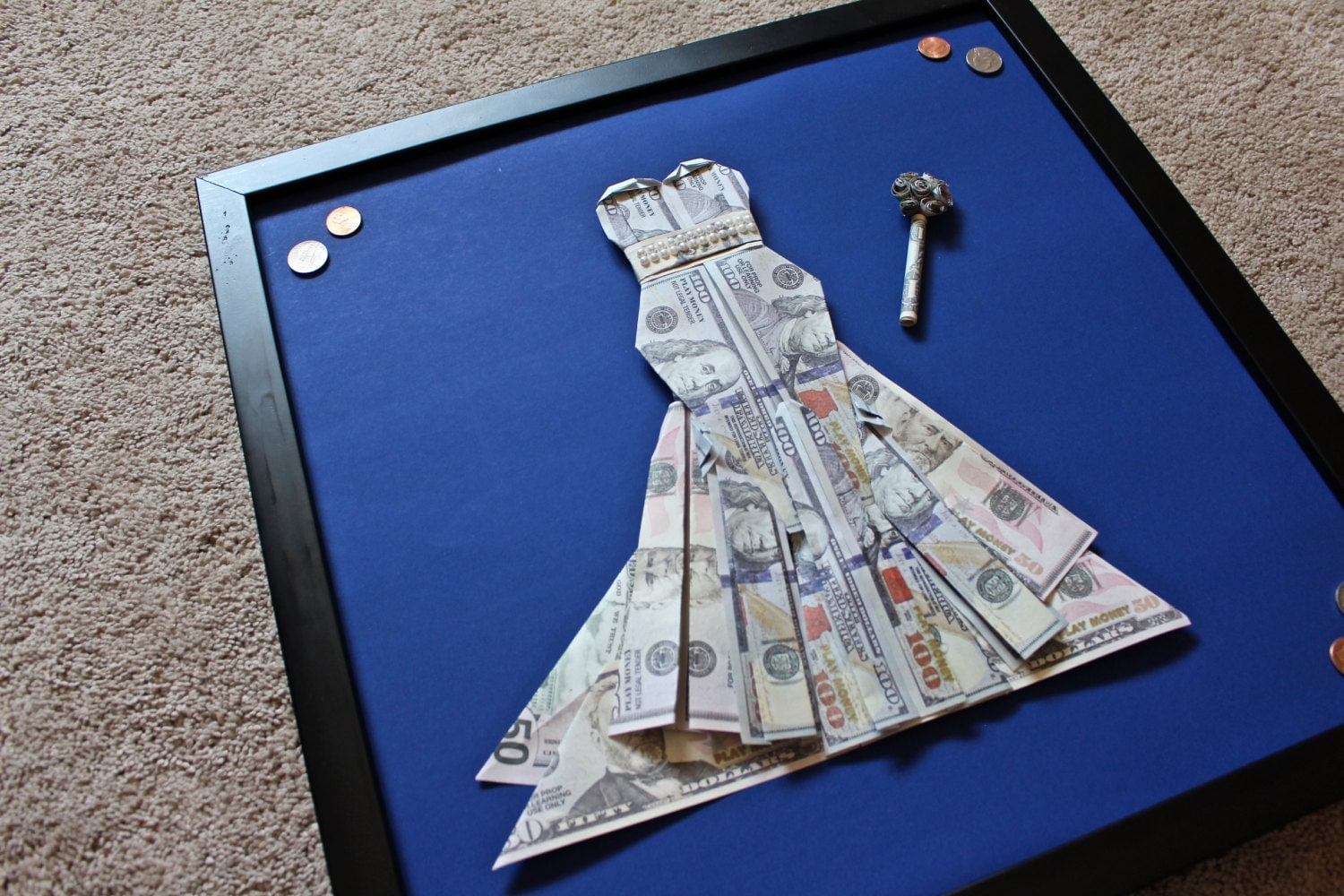 Custom Origami Money Wedding Dress with bouquet Unique Gift
