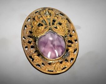 Czech pierced brass and purple glass part