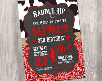 Cowgirl Birthday Invitation, Red and Black Western Cowgirl Invitation, Cowgirl Invite, Western Invitation, digital, Printable Invitation