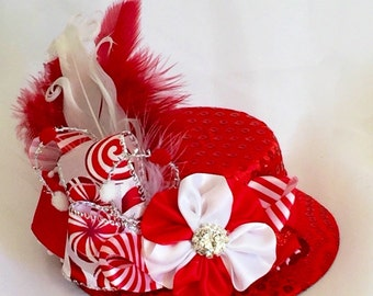 Christmas Peppermint Candy - Red/White/Silver - Mini Top Hat Fascinator