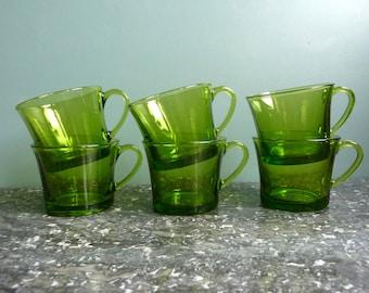 6 green duralex espresso cups