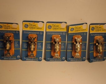 5 Lot New Vintage GE Deluxe TUMBLER Switch SINGLE Pole