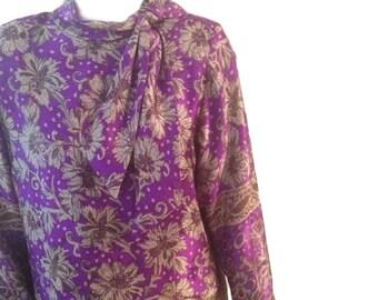 Hanae Mori Purple Floral Silk Shift Dress - Size 14