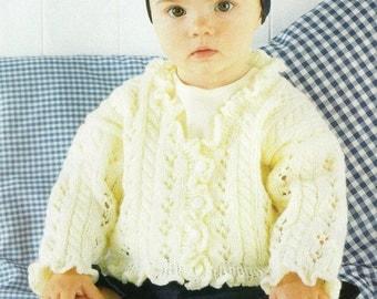 Vintage Sirdar Baby Cardigan 0-6yrs DK Knitting Pattern PDF