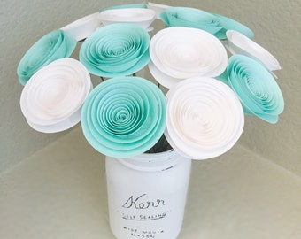Paper Flowers - Stemmed Flowers - Artificial Flowers - Baby Shower Decor - Gender Neutral Decor - Home Decor - Mint Paper Flowers - White