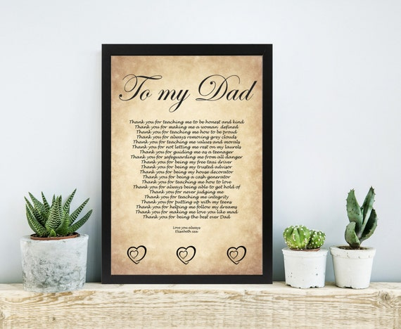 DAD Birthday Gift Fathers Day Gift Daughter Dad Wedding Poem Father ...