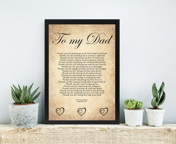Wedding Gift To Daughter From Dad : DAD Birthday Gift Fathers Day Gift Daughter Dad Wedding Poem Father ...