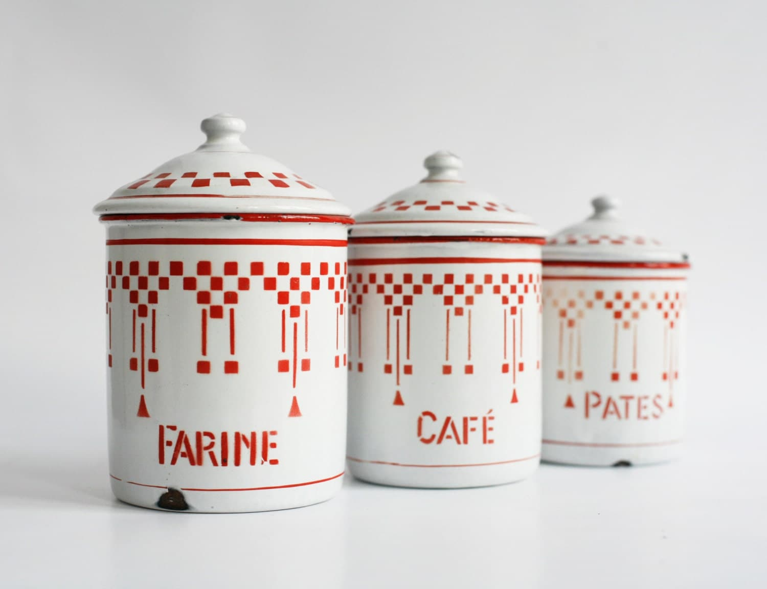 3 kitchen canisters french enamel storage jars red checkered