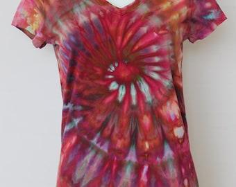 Tie Dye T-shirt ice Dyed V neck - size Medium - Confetti Twist