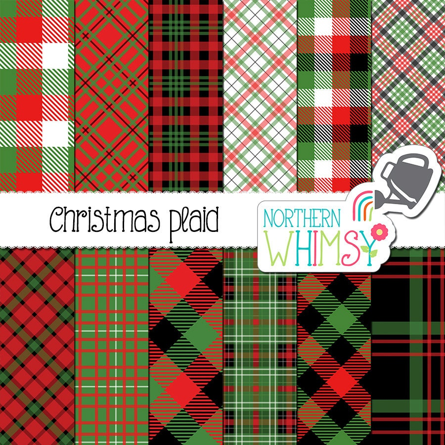 christmas digital paper christmas plaid by northernwhimsydesign. Black Bedroom Furniture Sets. Home Design Ideas