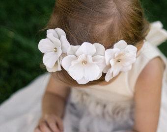 Flower Girl Headband, Cream Baby Girl Headband, Rhinestone Headband, Floral Girl Headband, Cream Toddler Headband