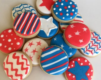Patriotic Themed Stars and Stripes (and other designs!) Sugar Cookies - 1 Dozen