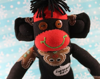 Sock Monkey / Gingerbread Men / Oh Snap / Christmas / Black, Red, Green, Brown / Christmas Decoration / Holiday Decoration / Christmas Gift