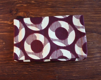 Large clutch: Burgundy with aloe green circle design