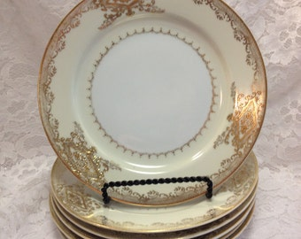 Lot of Kyoto China in the Pattern Called Goldana, Made in Japan, Mid-Century, Beautiful Gold Embossed Design, Sugar Bowl, Tea Cups, Luncheon