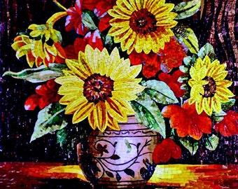 Sunflowers Vase Glass Mosaic Mural