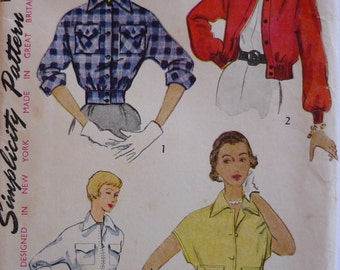 vintage Sewing Pattern. Simplicity 3411. 1950s jacket