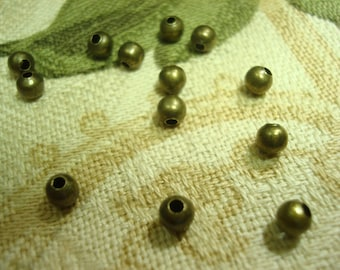 500 Bronze 3mm or 4mm Quality Bronze Finish Ball Spacers 1.2mm Holes  ~USPS Standard Ship Rates ~From Oregon