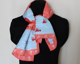 Vintage scarf.  Landscape, coral and blue, rectangular.