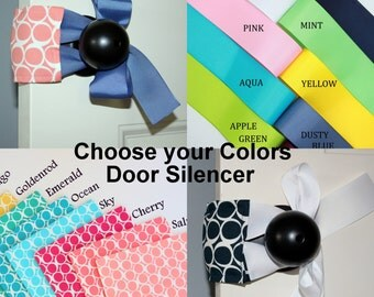 Ribbon Tie Door Silencer or Latch Cover for Quiet Nursery Doors - also great for Toddlers and Arthritis Sufferers