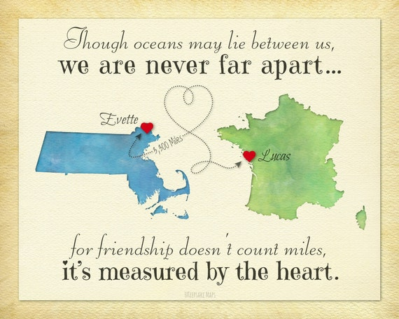 Birthday Quotes For A Friend Miles Away : Long distance gift for friend never far apart quote birthday