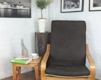 Ikea Poang Cover in Charcoal Vintage Distressed  leather Look