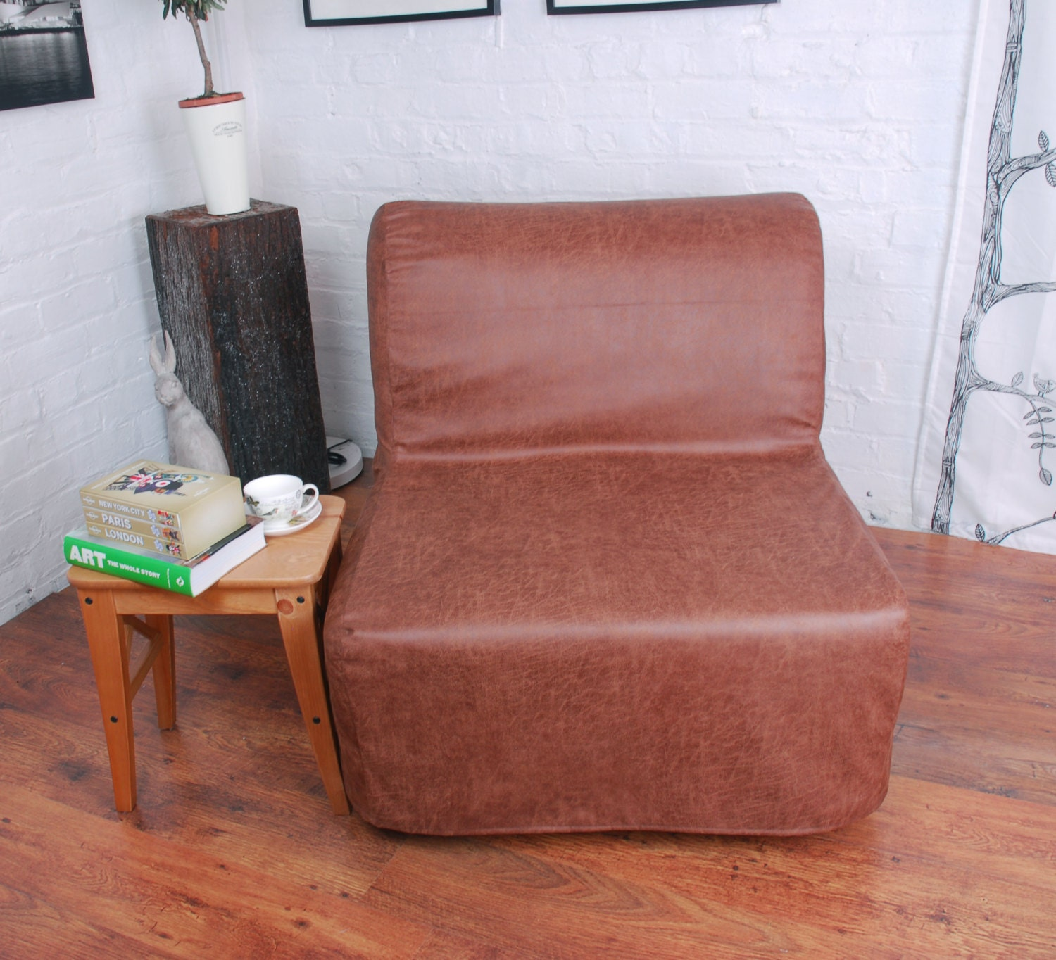 Ikea Lycksele Chair or Double sofa Bed Cover in Distressed