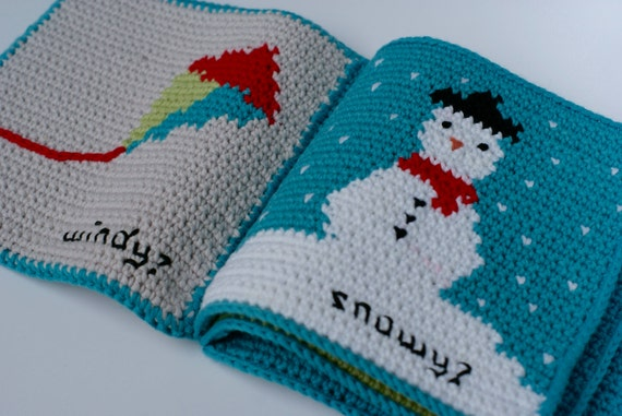 Crochet Quiet Book : Crochet Pattern Weather Baby Book ~ Soft Book ~ Waldorf Toy ~ Quiet ...