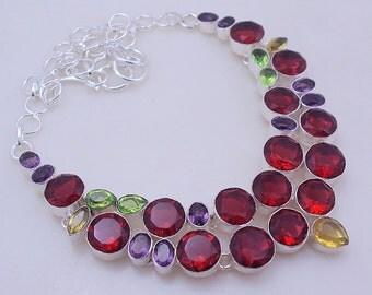 free shipping F-298 Garnet-Amethyst-Peridot-Citrine .925 Silver Jewelry Necklace 76 Gr.