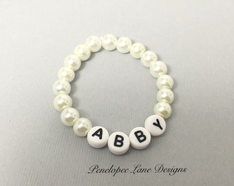 Newborn Baby ID Bracelet Infant Personalized Pearl Bracelet Newborn Photo Prop