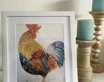 Rooster McRoo, colourful rooster art print 30x20cm , farmyard art
