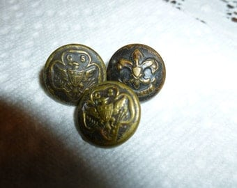 Vintage Boy Scout And Girl Scout Metal Buttons / Lot of 3