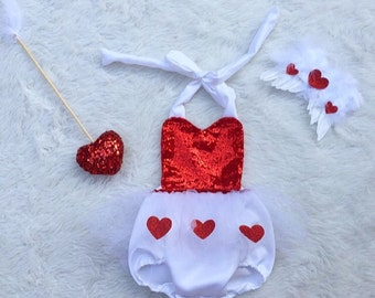 Valentine's day Cupid sequin red and white romper with wings