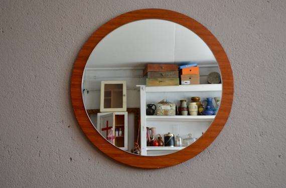 miroir rond en teck vintage r tro ann es 60 scandinave sixties On miroir rond deco